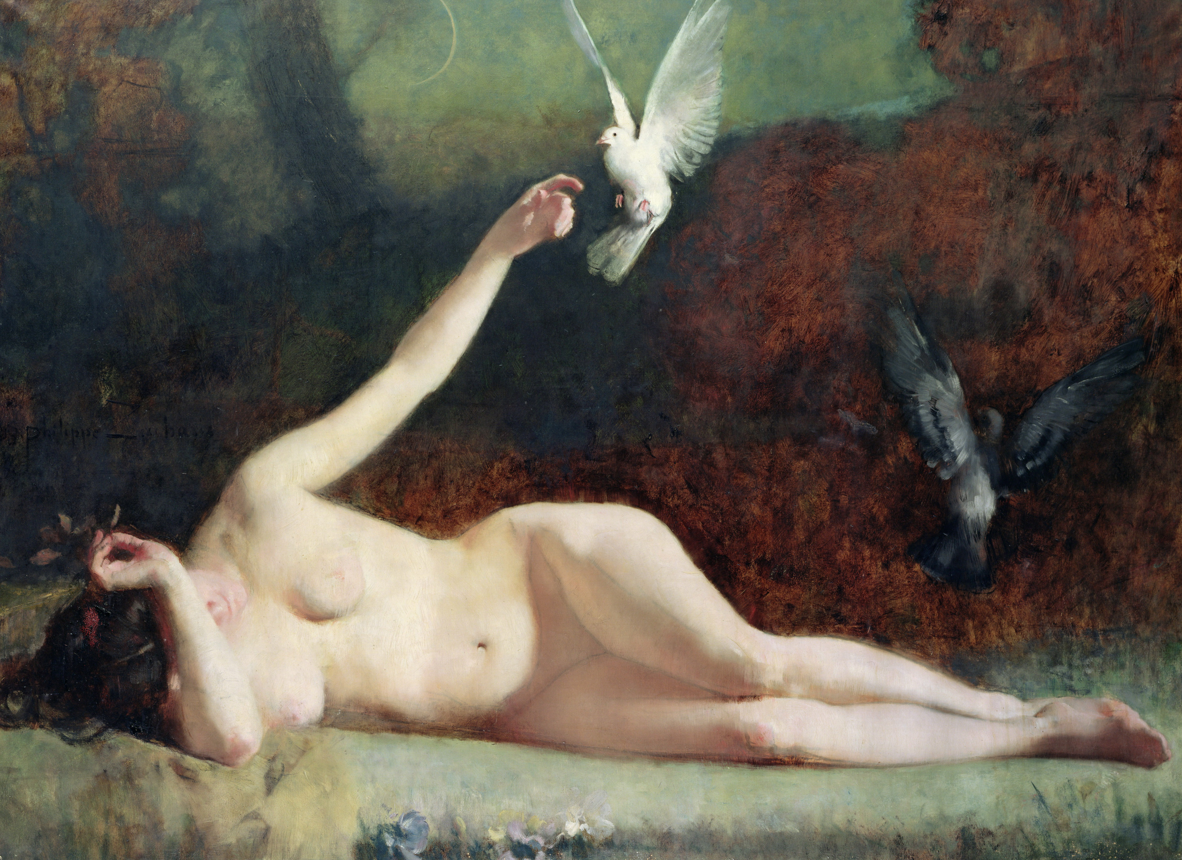 Philippe-Ernest Zacharie, 1849-1915. Женщина с голубями. ок.1883. Руан, Музей изобр. искусств