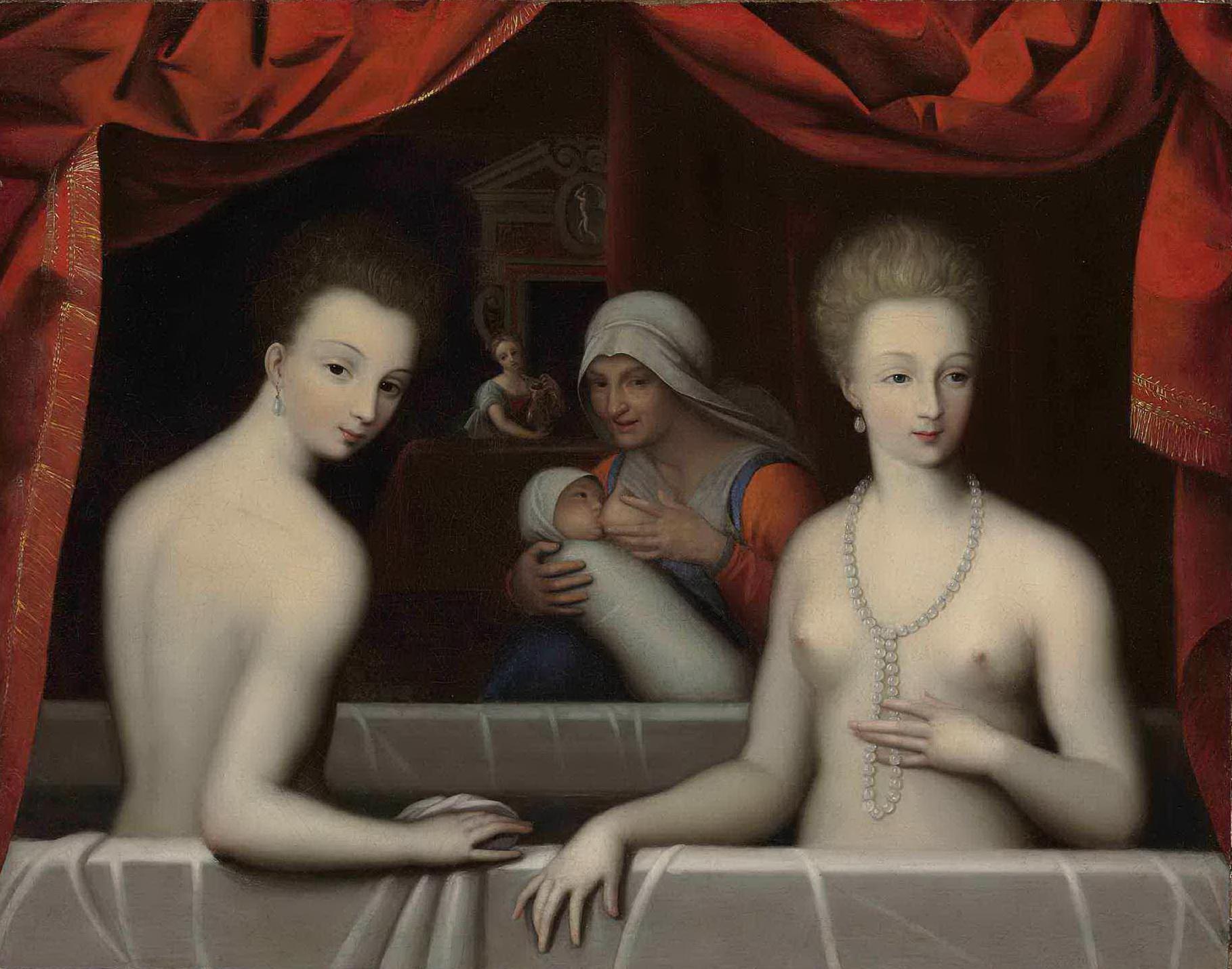 Школа Фонтенбло. Портрет Габриэллы дЭстрей со своей сестрой (ок.1600) (57.5 x 72.1 см) (частная коллекция)