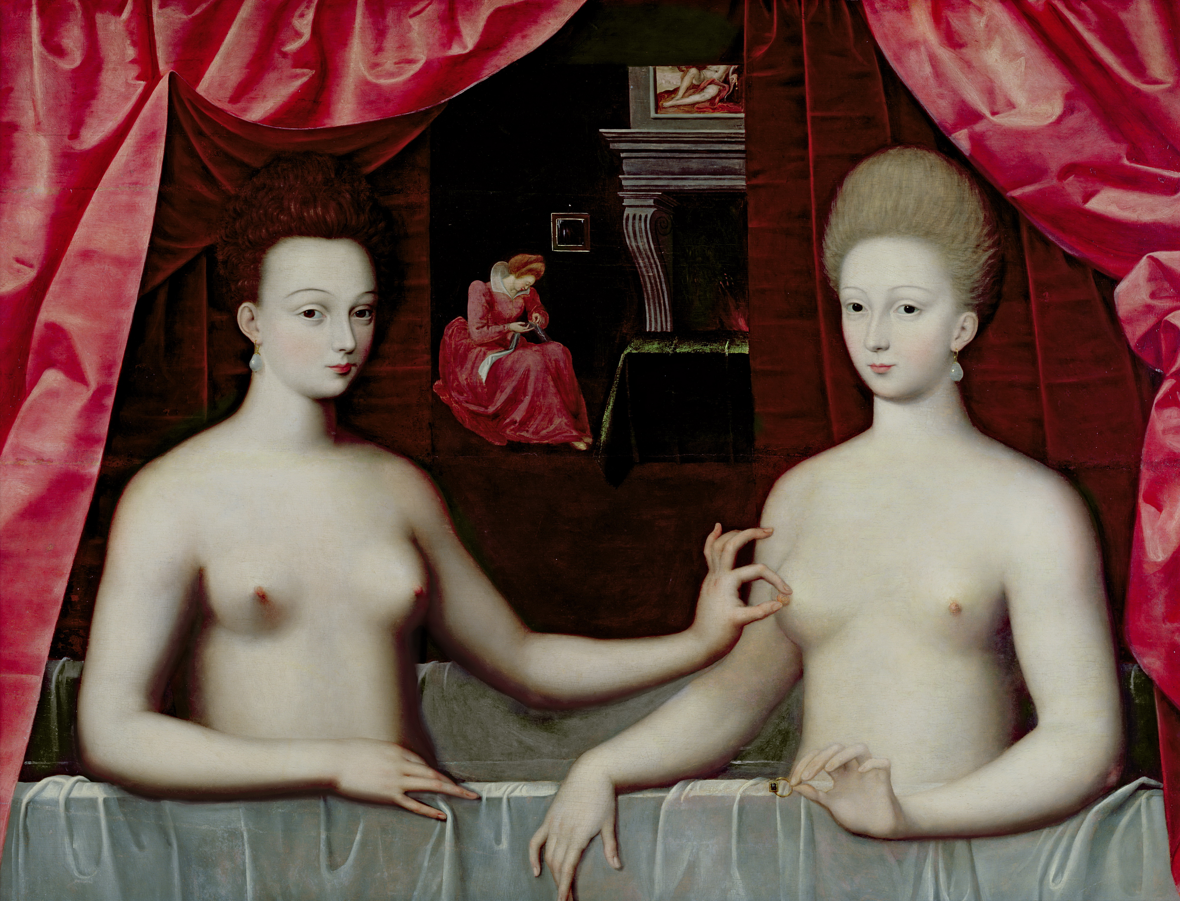 Школа Фонтенбло. Портрет Габриэллы дЭстрей со своей сестрой. ок.1595. 96 х 125 см. Париж, Лувр