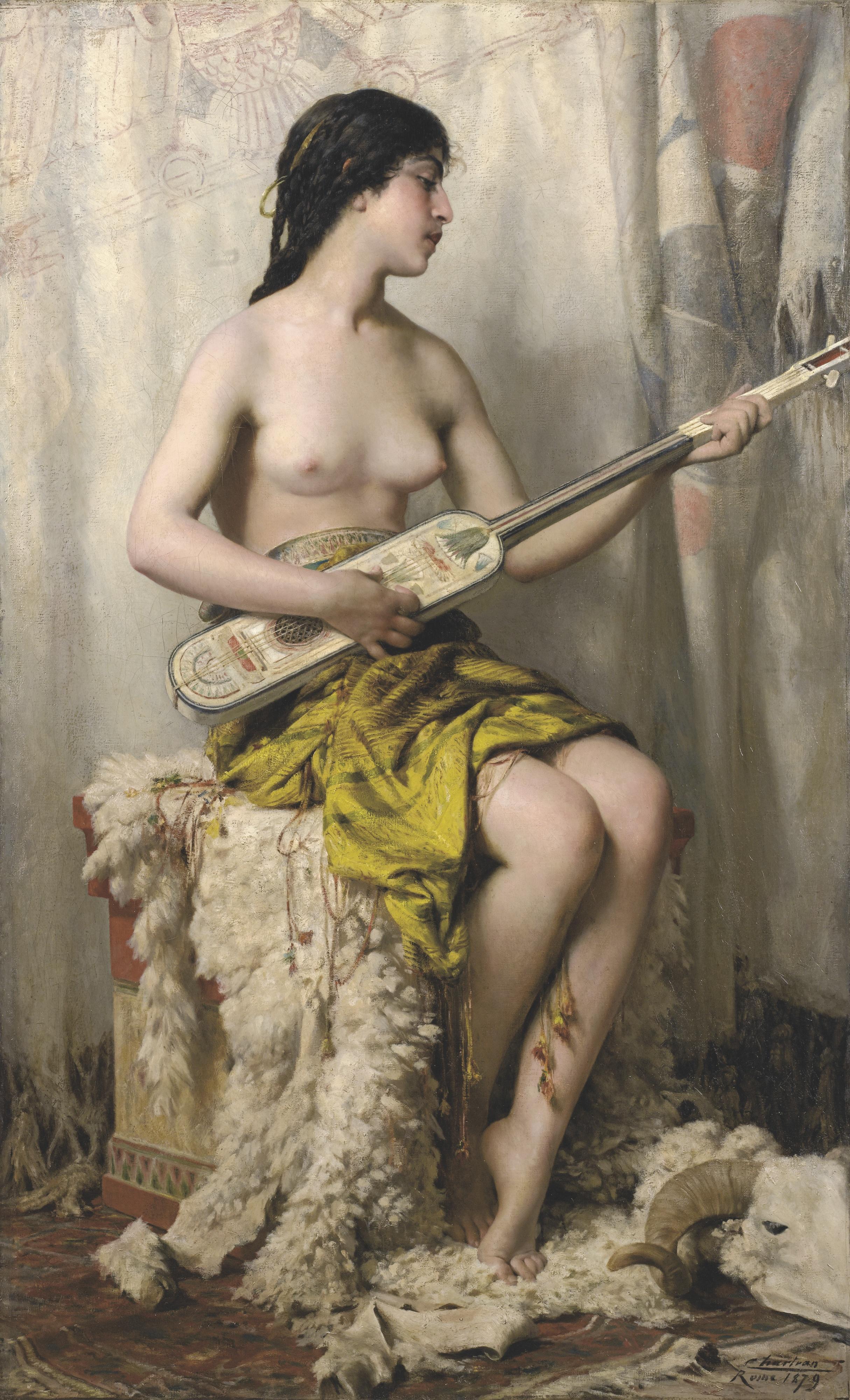 Theobald Chartran, 1849-1907. Женщина, играющая на мандоле. 169.5 х 103 см. частная коллекция