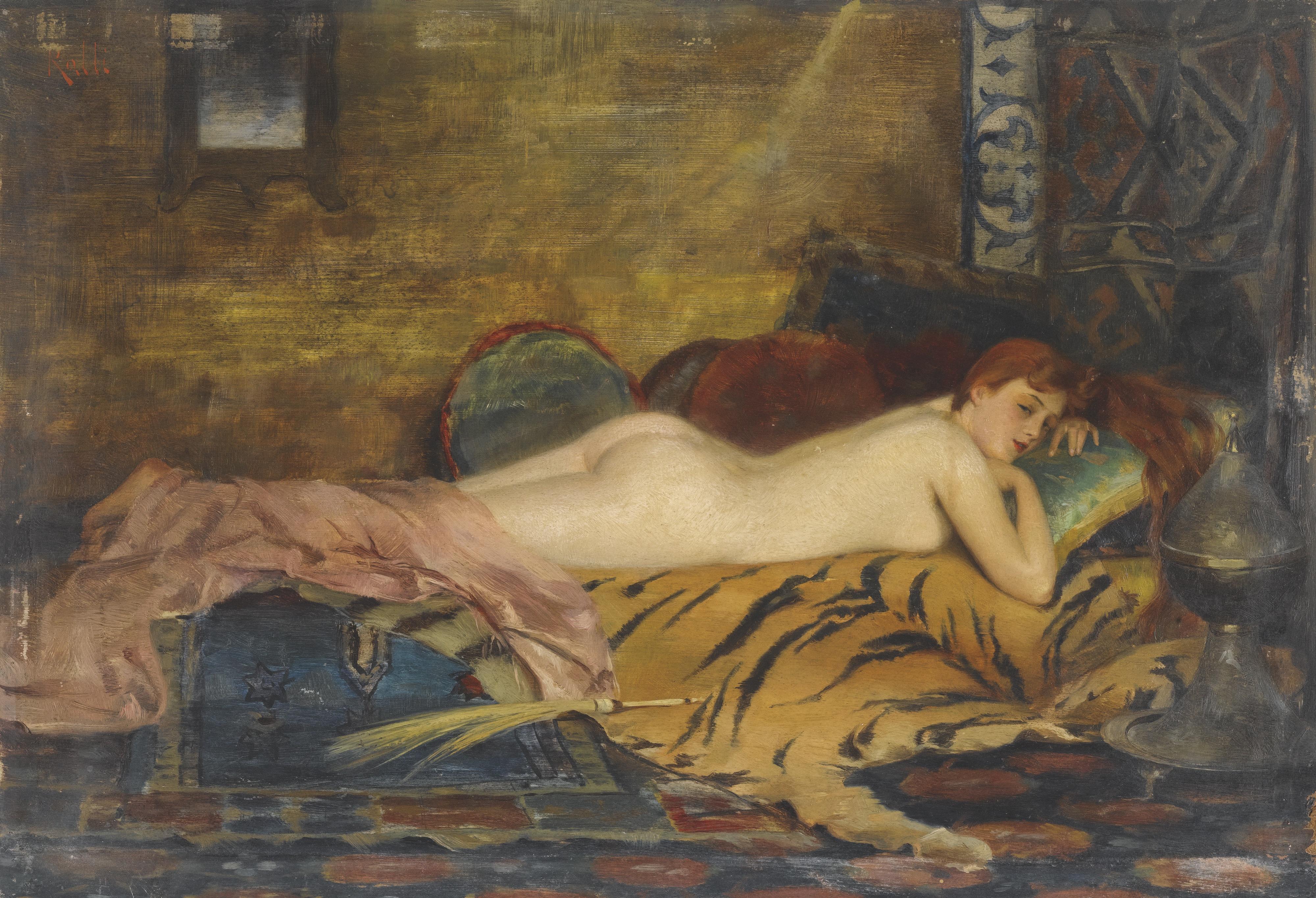 Theodoros Rallis, 1852-1909. 24 х 35 см. Лежащая обнаженная. частная коллекция