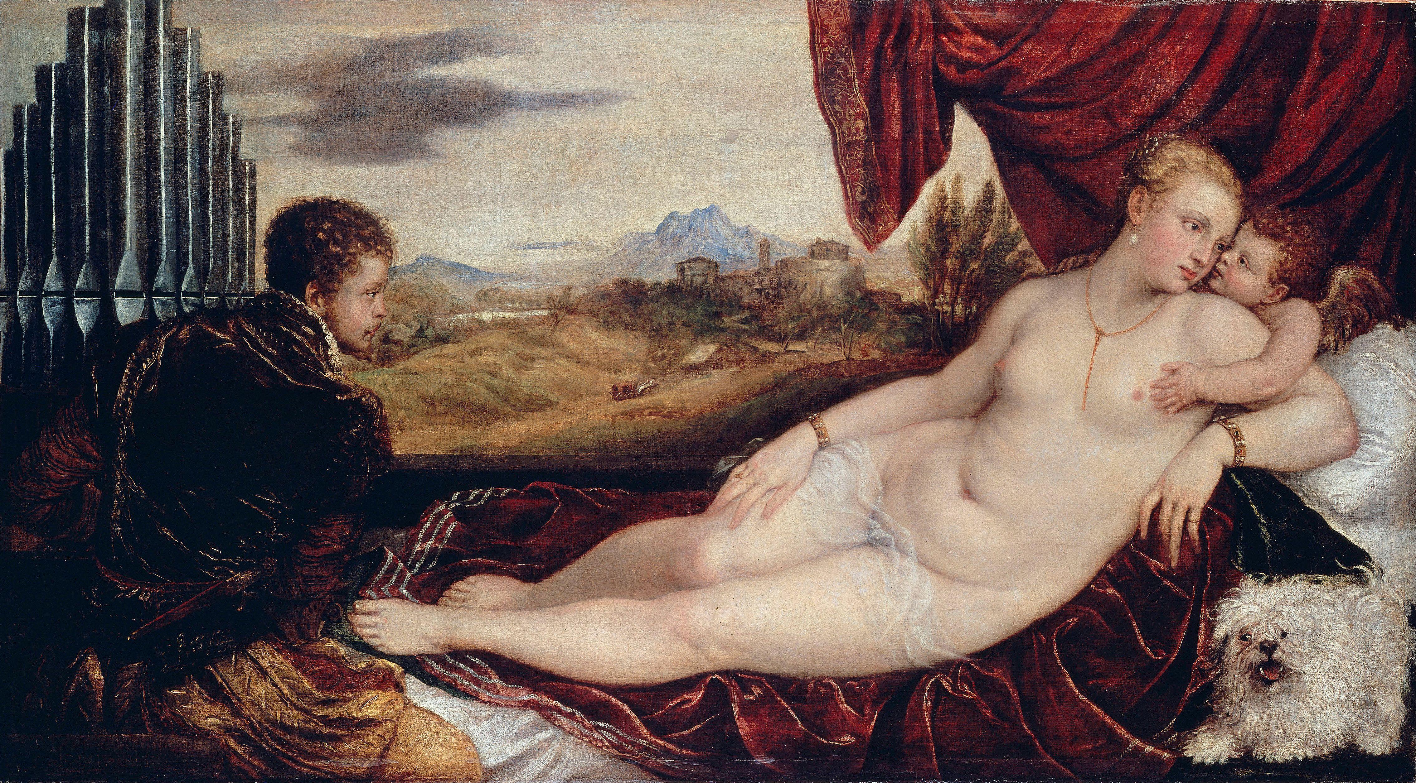 Titian Vecellio. 1488-1490 - 1576. Венера и органист. ок.1550. 115 х 210 см. Берлин, Государственный музей