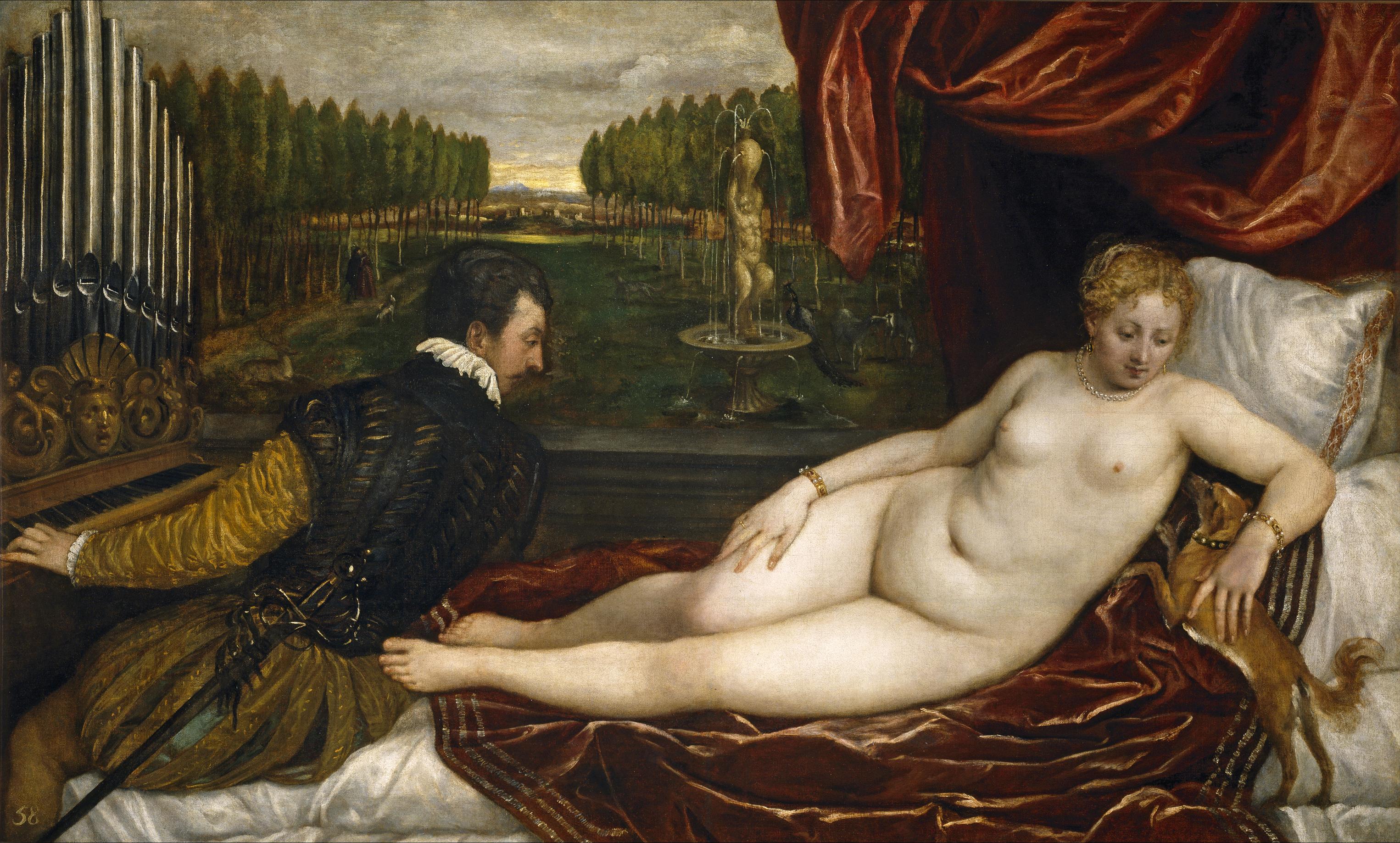 Titian Vecellio. 1488-1490 - 1576. Венера и органист. ок.1550. 138 x 222,4. Мадрид, Прадо