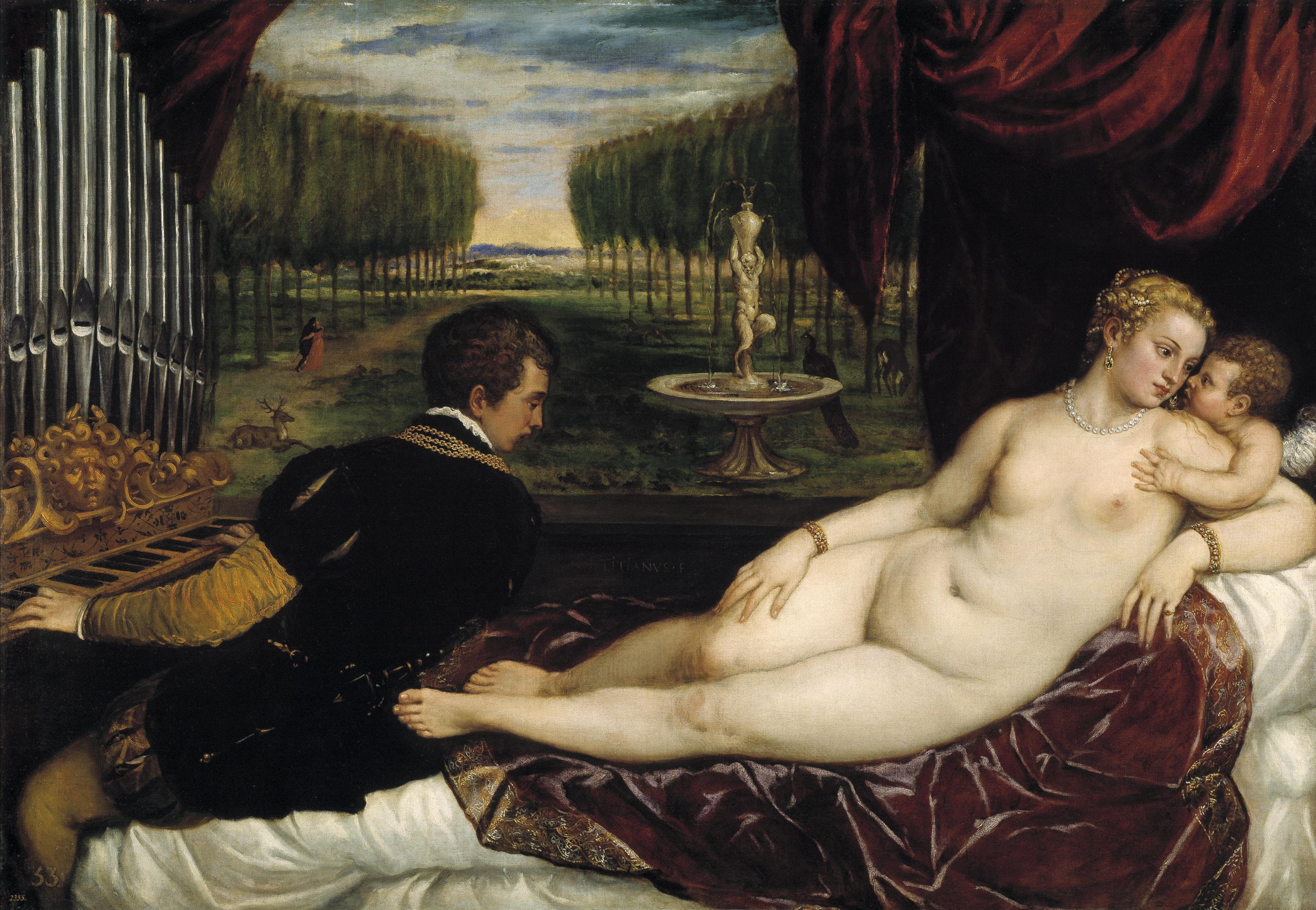 Titian Vecellio. 1488-1490 - 1576. Венера и органист. ок.1555. 150,2 x 218,2. Мадрид, Прадо