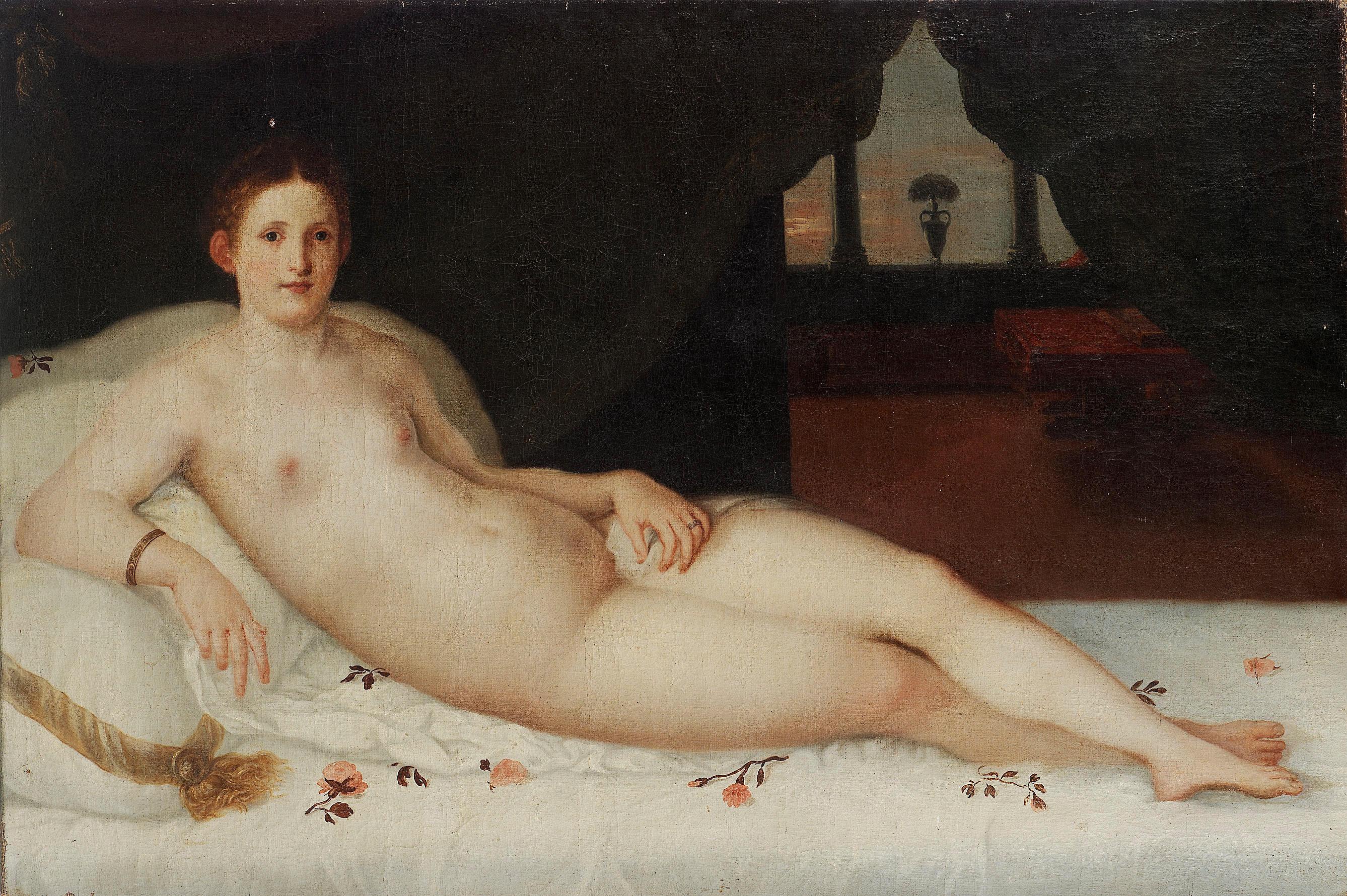 Венецианская школа XVII в. Отдыхающая Венера. 101 x 150 см. частная коллекция