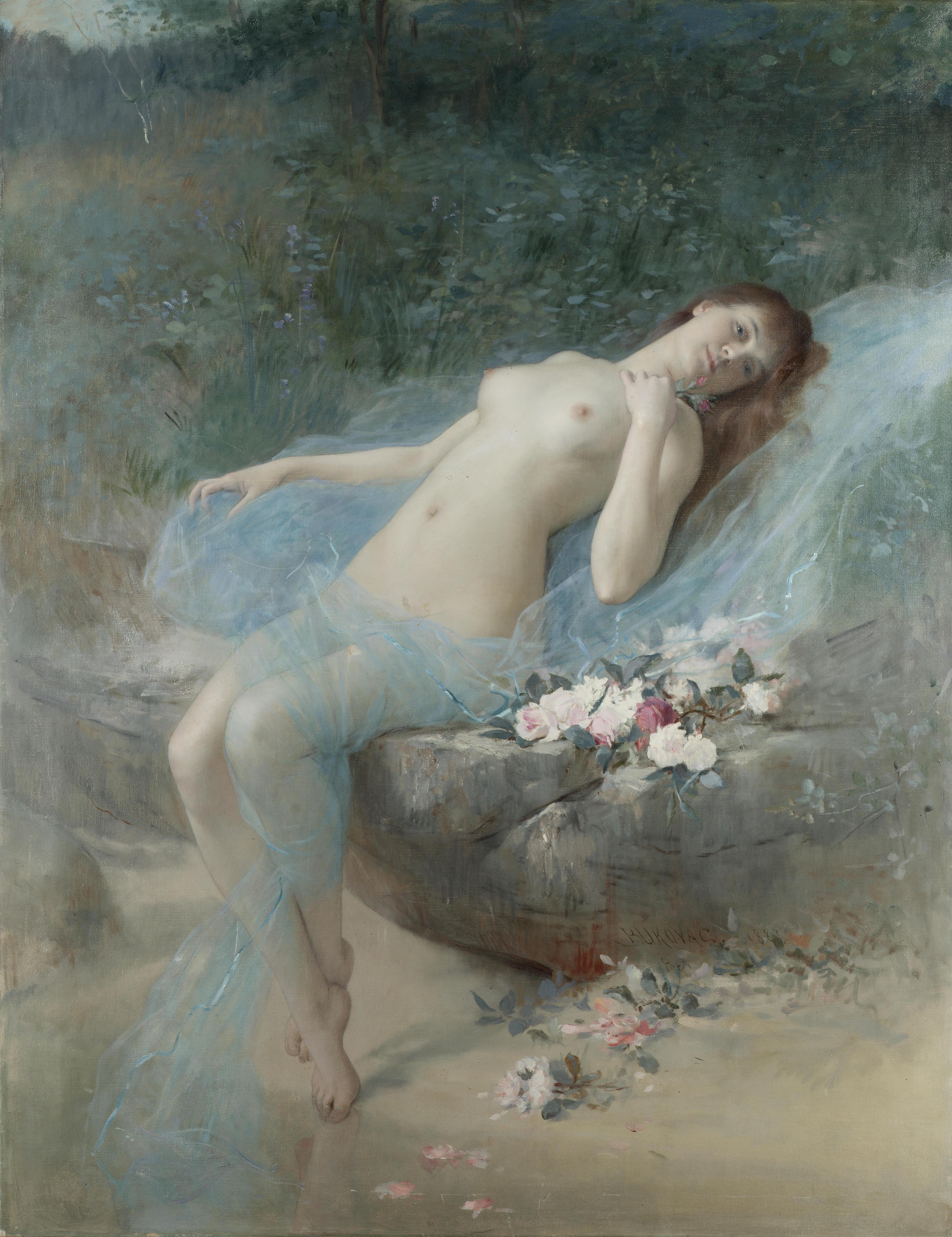 Vlaho Bukovac, 1855-1922. Лежащая обнаженная. 127 x 97 см. Частная коллекция