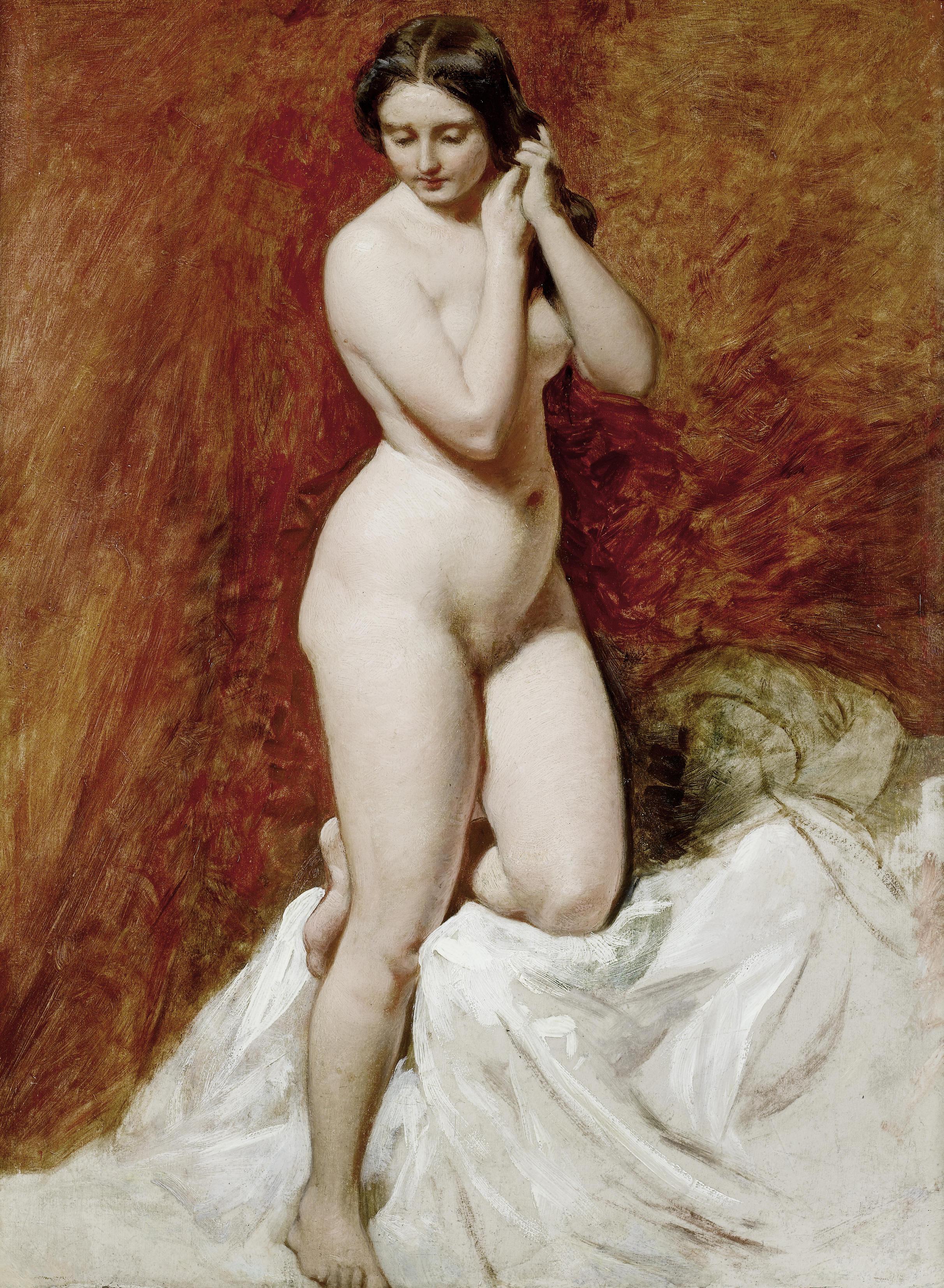 William Etty, 1787-1849. Этюд обнаженной, поправляющей свои волосы. 61 x 46 см. частная коллекция