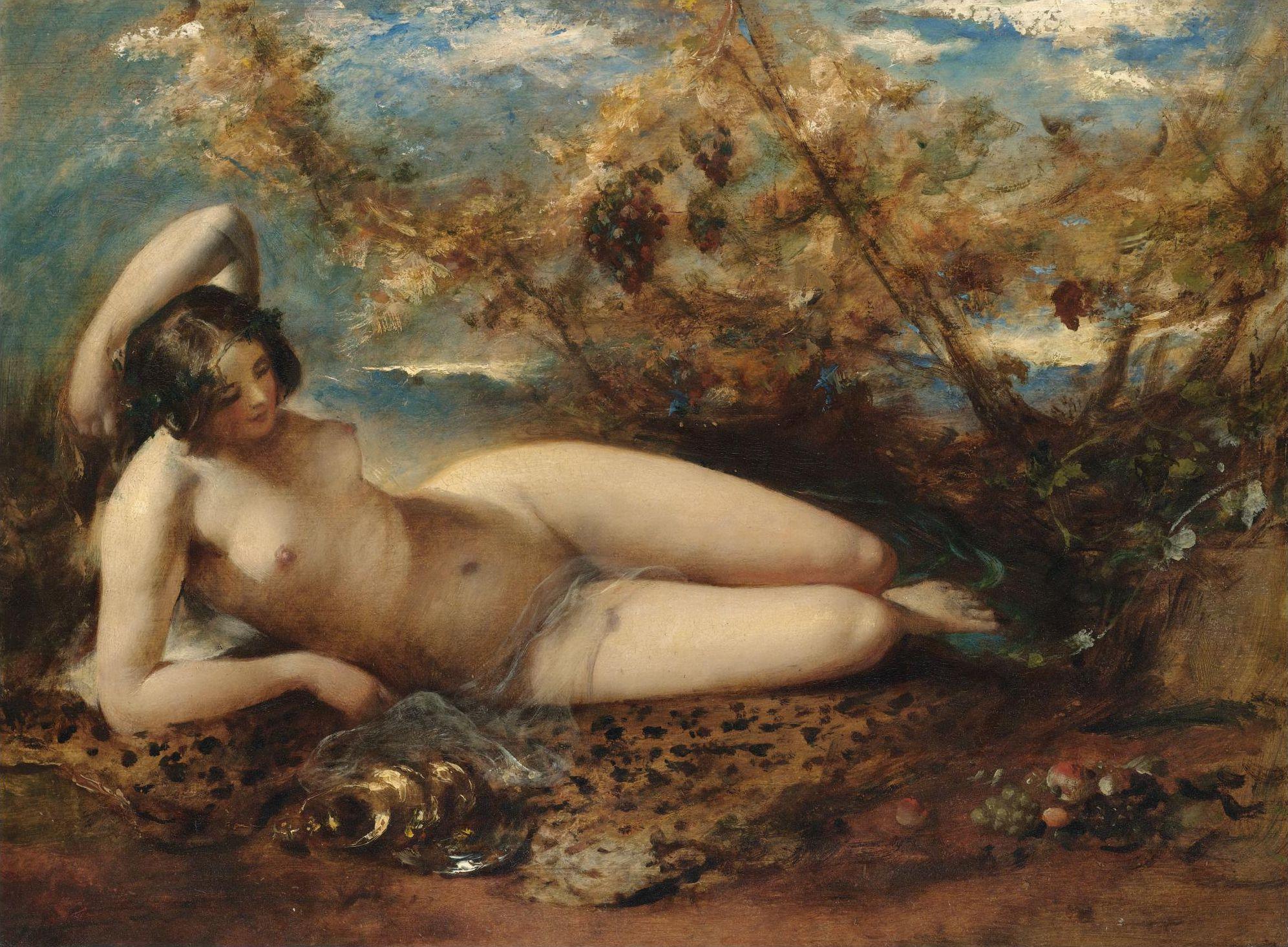 William Etty, 1787-1849. Молодая женщина, лежащая на меховой подстилке. 58.7 х 74.5 см. частная коллекция