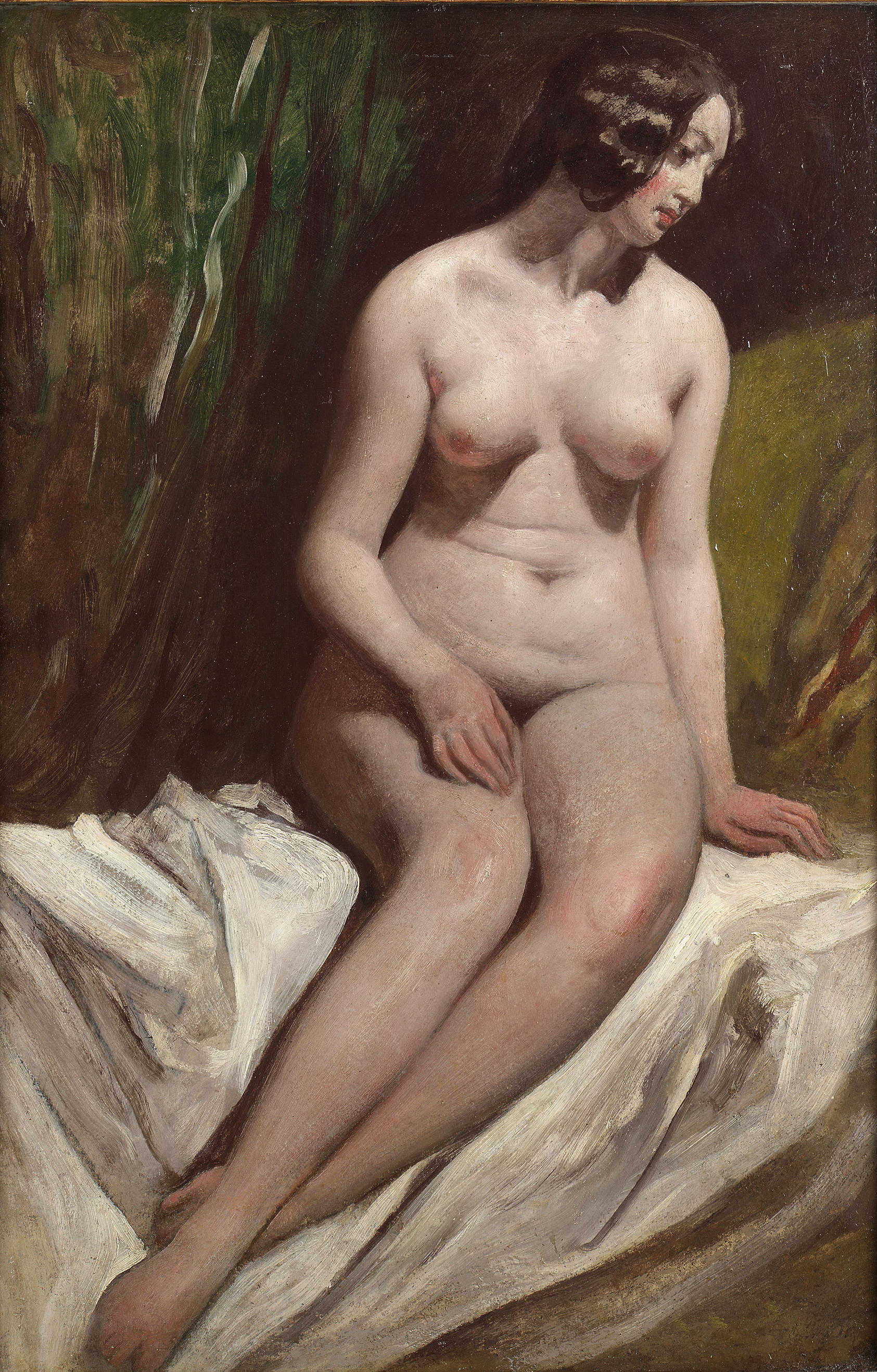 William Etty, 1787-1849. Сидящая обнаженная. 66 x 44.5 см. частная коллекция