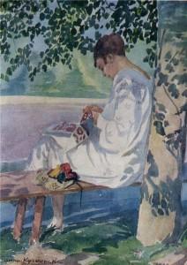 За вышиванием (Портрет сестры). 1928 г.