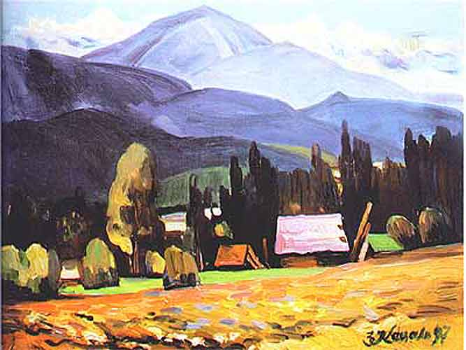 Гора Петрос.1993.Полотно,олія.65х70