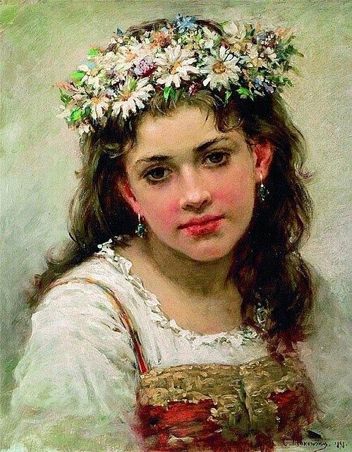 Константин Маковский Головка девочки 1889 г