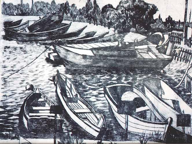 Очаківська пристань.1979.Суха голка.24,5х29,5