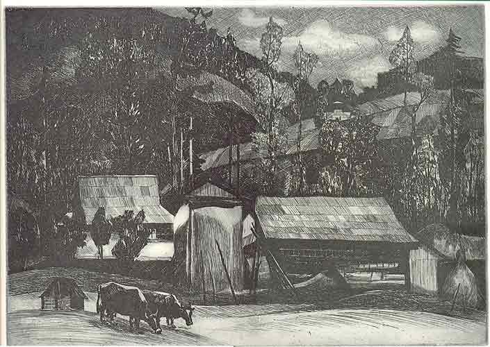 Осінь в Карпатах.1986.Офорт на залізі.29х41