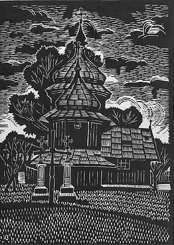 Церква в селі Підлісся.1970.Ліногравюра.41х30