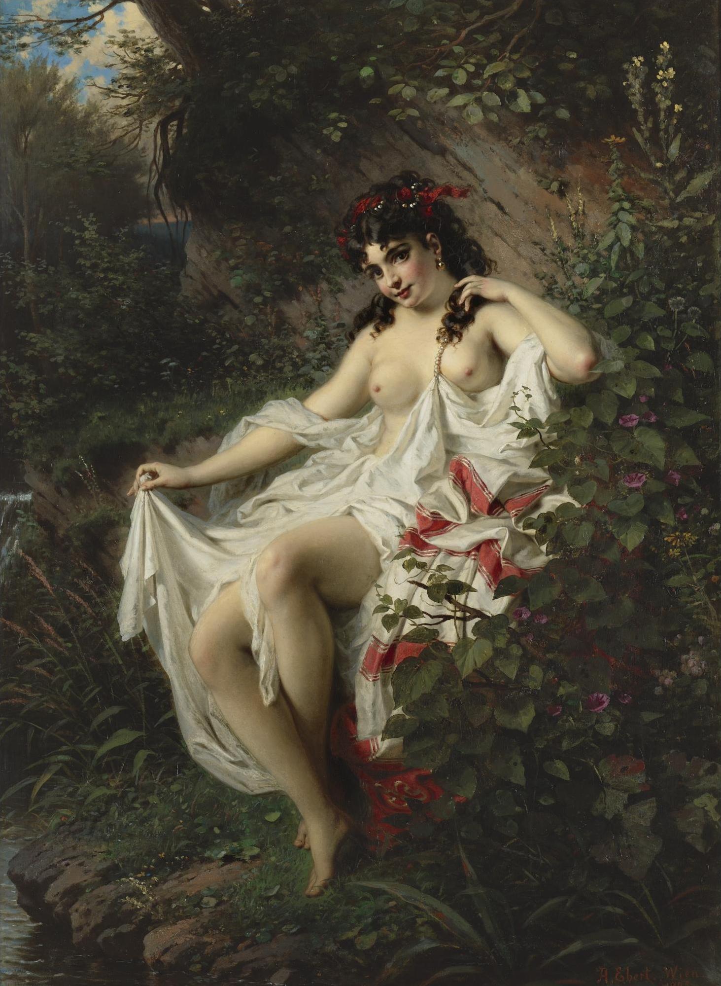 Anton Ebert, 1845-1896.  Весна в лесу.  1875. 106 х 74.6 см. Частная коллекция