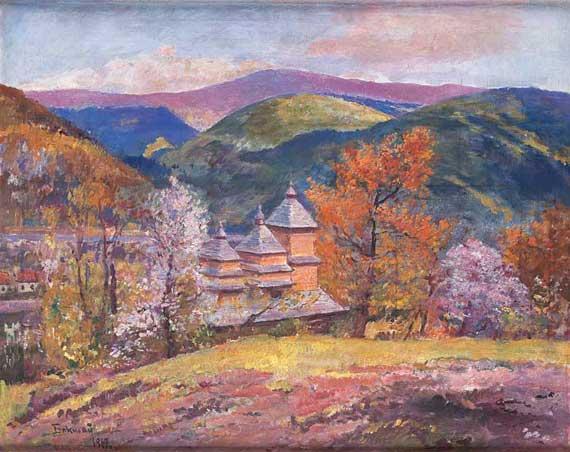Гірський пейзаж з деревяною церквою