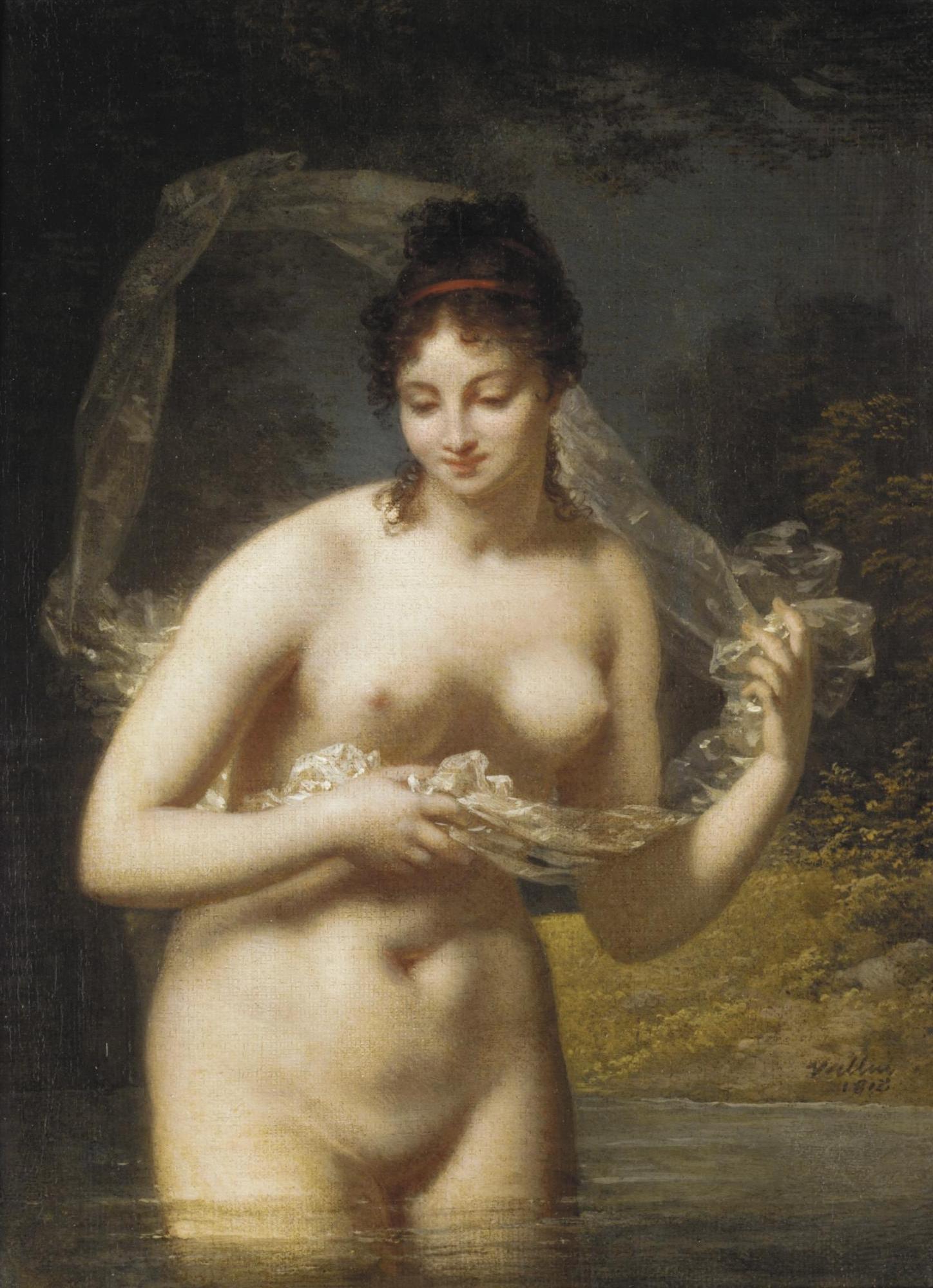 Jaques Antoine Vallin, ок.1760-после 1831. Обнаженная в озере. 32 х 33 см. частная коллекция