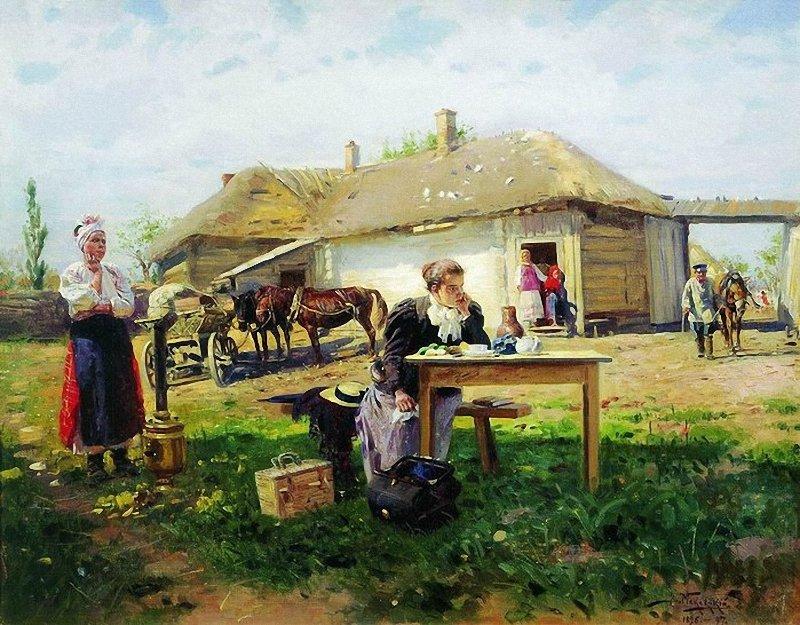 Маковський Володимир Єгорович (1846-1920). Приїзд вчительки в село