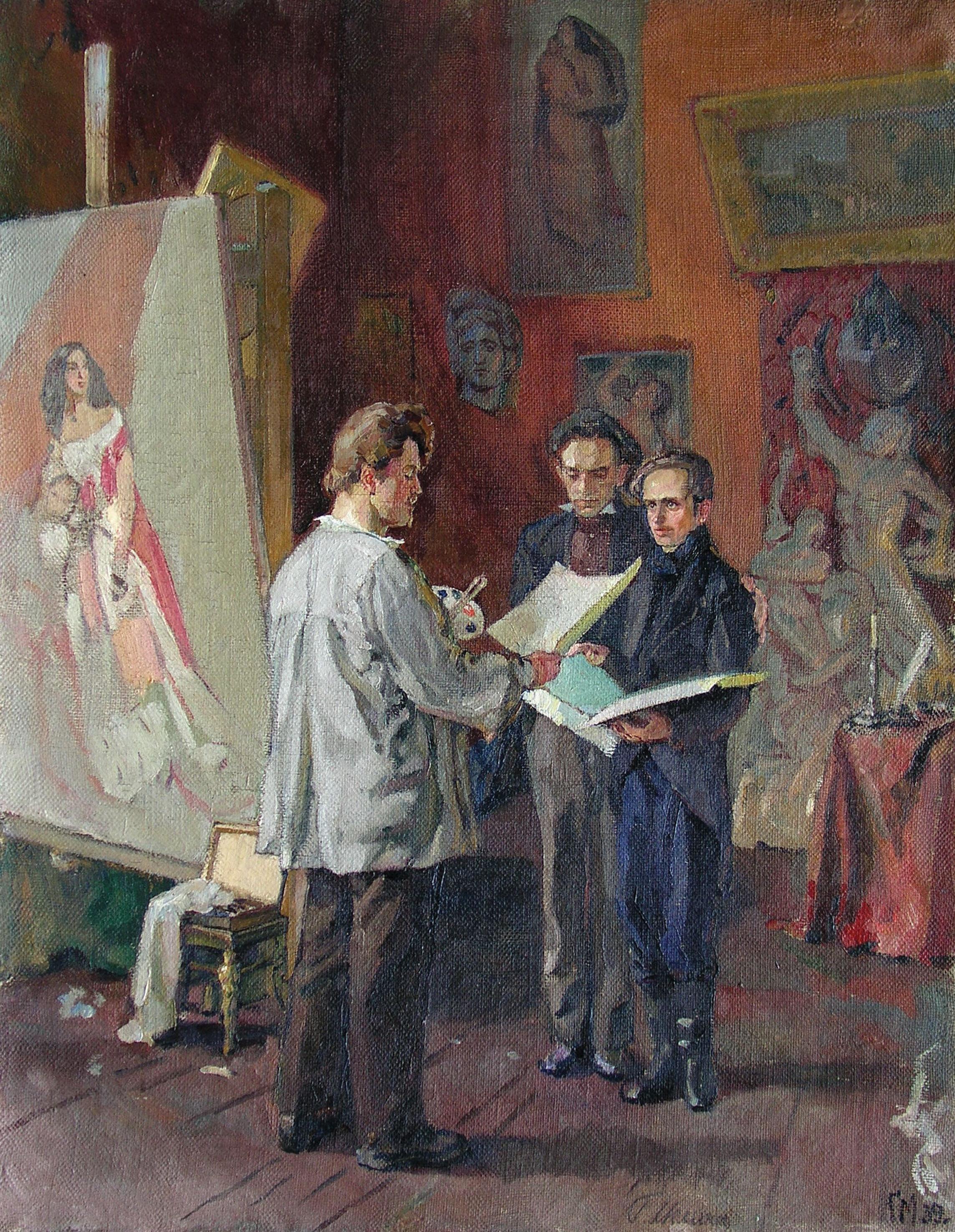Молодой Т. Шевченко в мастерской К. Брюллова, 1939 г.Меліхов Г.
