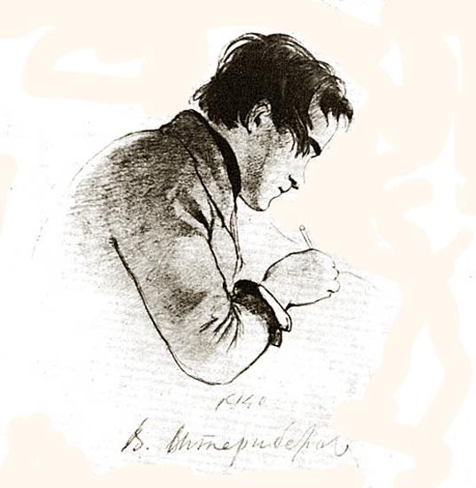 Шевченко за работой, 1840 год Штернберг В.