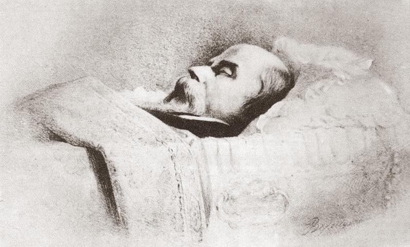 Тарас Шевченко в гробу. Литография, 1861 г.В.Верещагін