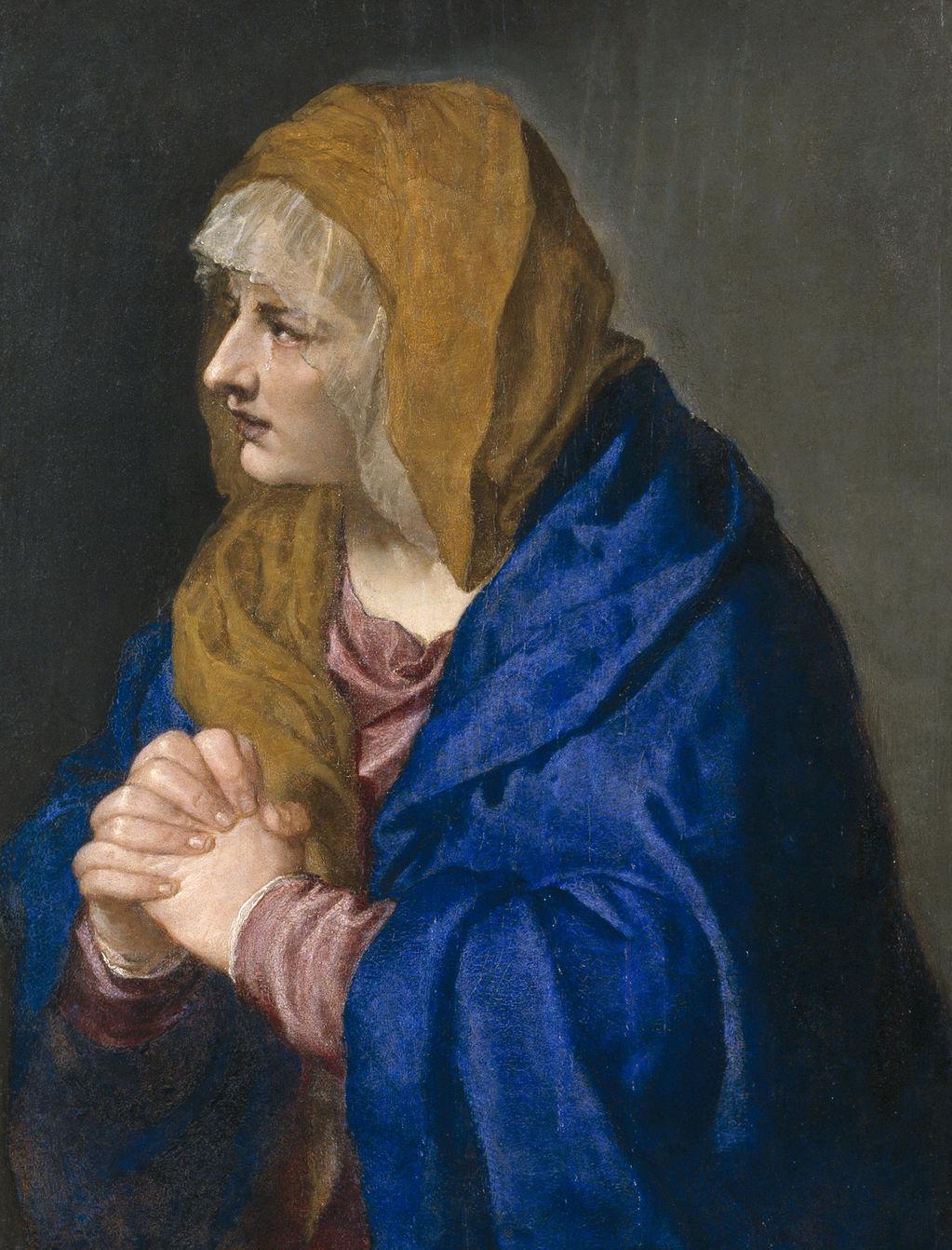 Tiziano, Vecellio di Gregorio Dolorosa con las manos cerradas 1554