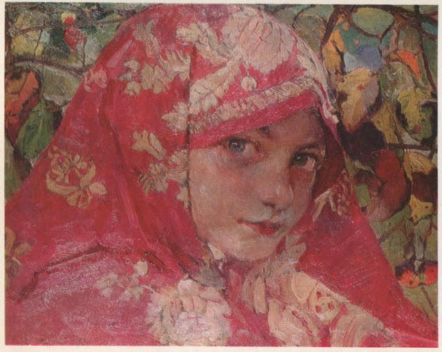 Голівка дівчини в хустинці. Портрет Галі Старицької.1906-1907