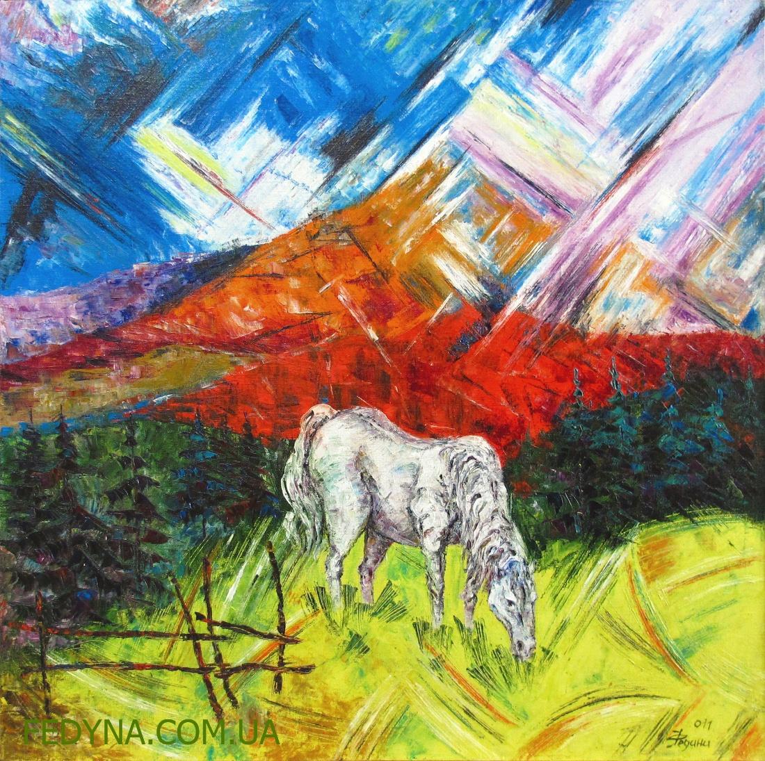 Ой на горі на високій, сивий кінь пасесі...