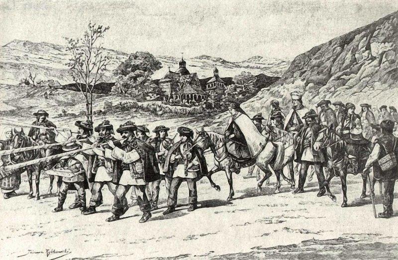Tadeusz Rybkowski. Hochzeitszug der Huzulen Гуцульская свадьба. 1897 г.