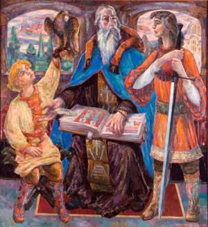 Триптих «Князь Данило Галицкий». Левая часть, «Учитель»