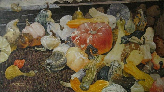 Pumpkin Harvest. 26x47 inches.