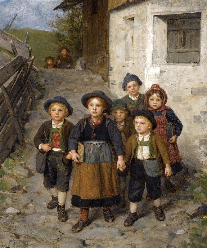 Franz von Defregger Going to School.
