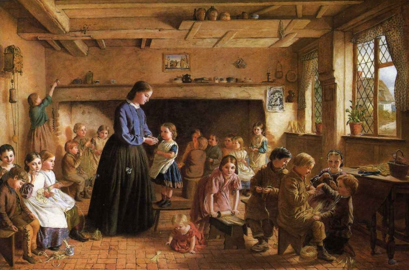 George Washington Brownlow A Straw Plaiting School in Essex.