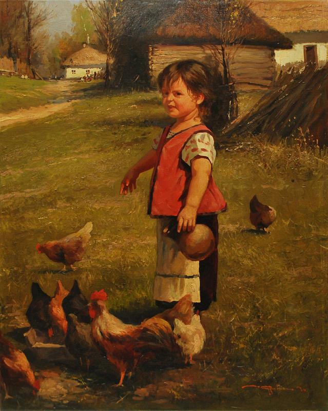 Дівчинка і кури. 50х40