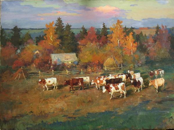 Осенний вечер. Коровы
