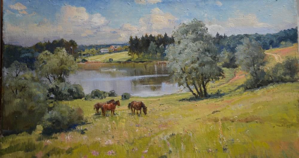 Пейзаж з конями