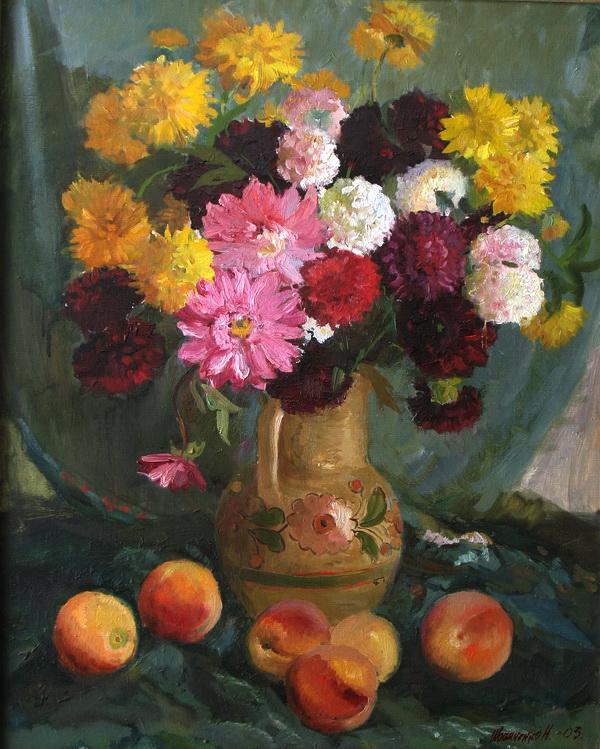 Цветы и персики