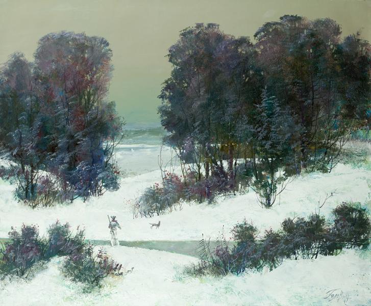 мисливець на снігу