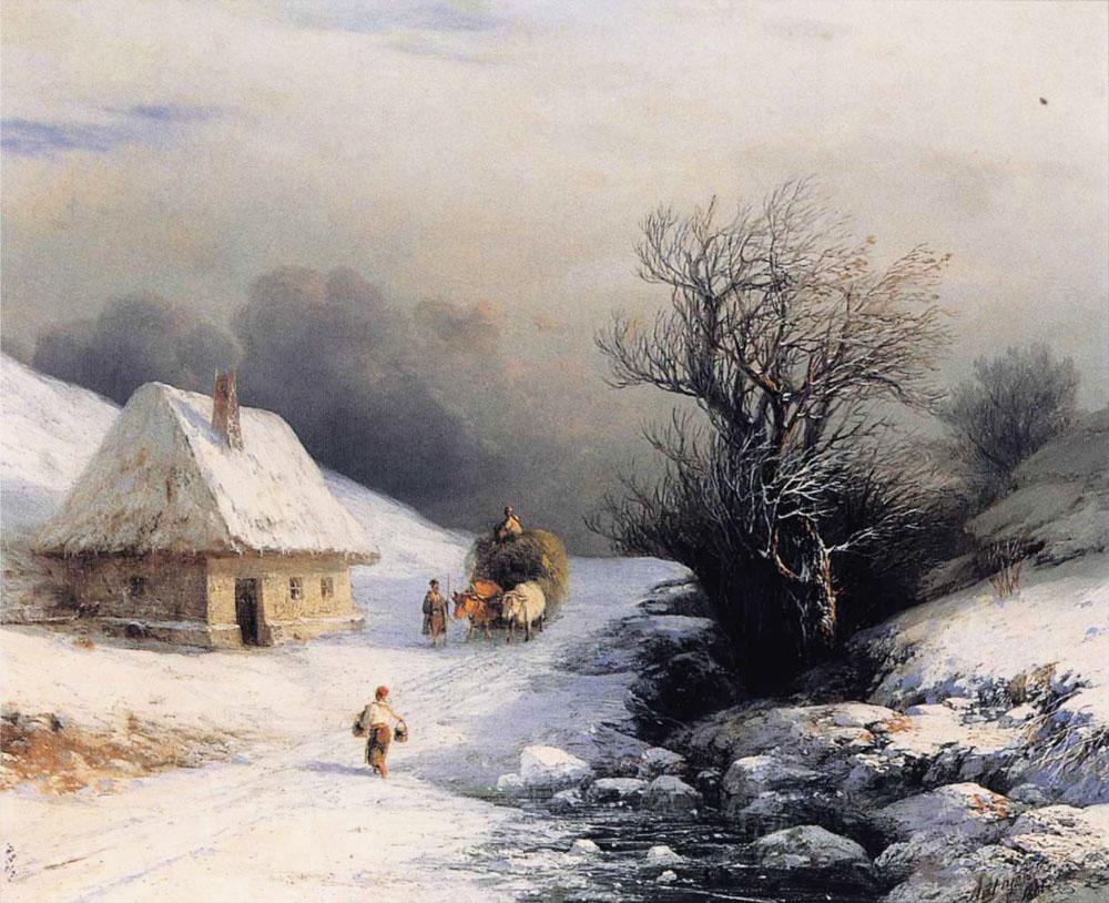 Телега с волами зимой