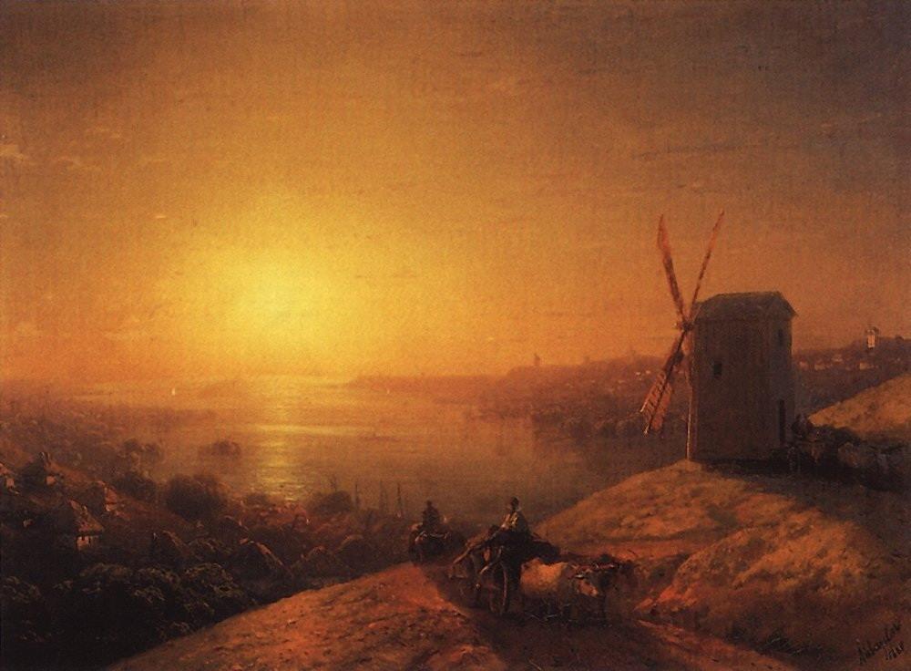 (Ivan Aivazovsky, 1817-1900) и его Мельница на берегу реки. Украина (1880)