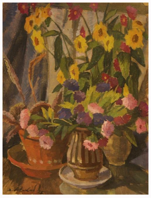 Натюрморт с цветами. 1995г Картон, масло, 50x38.5