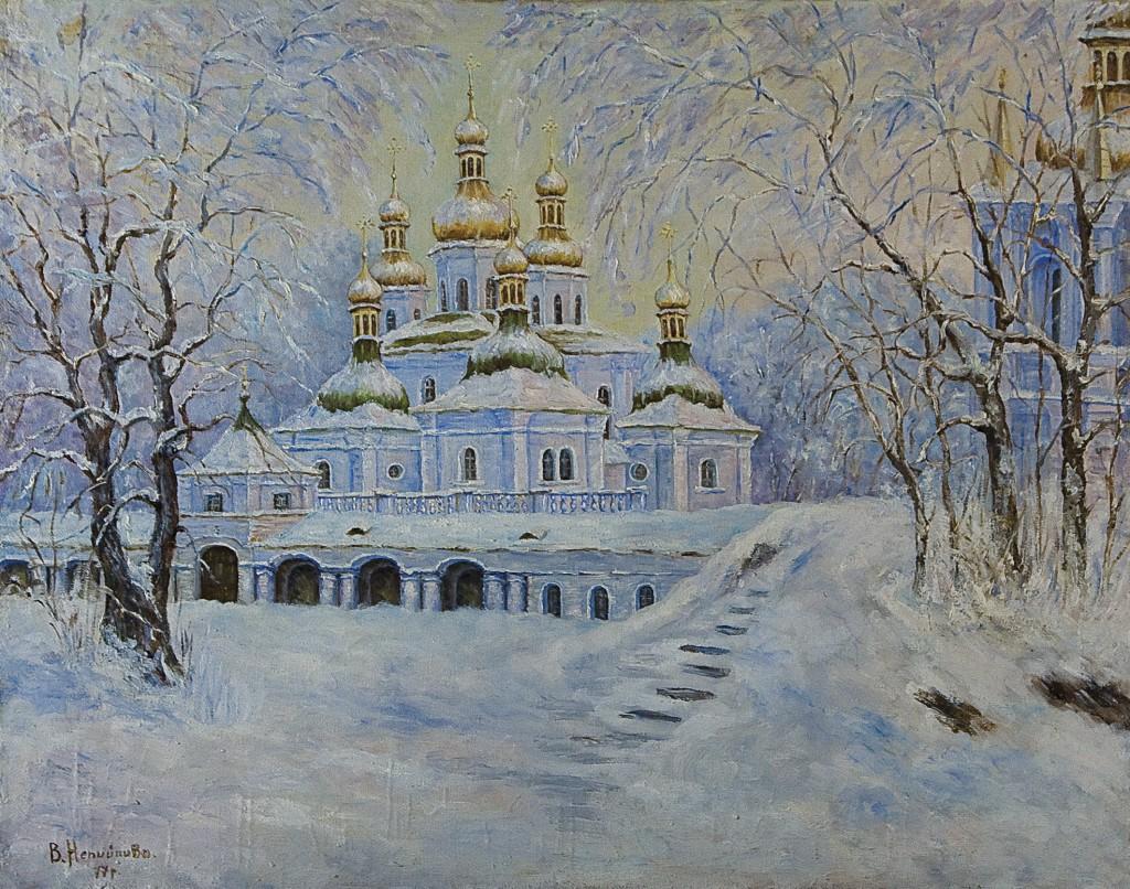 «Зимний пейзаж с церковью», 1977 г