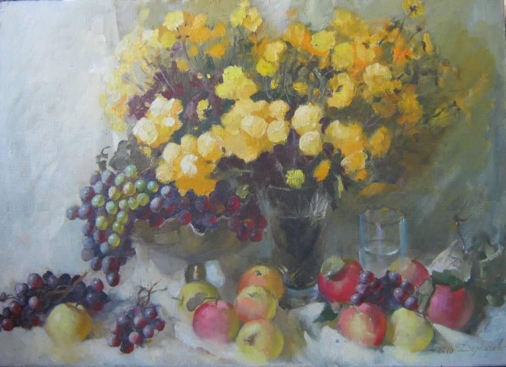 хризантемы с виноградом