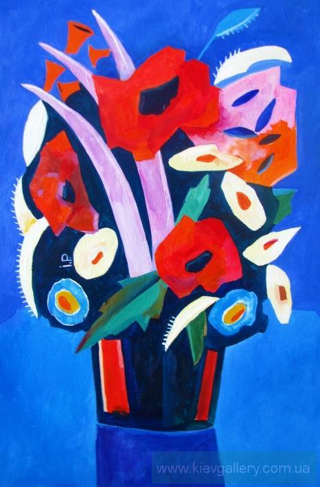 квіти в синій вазі