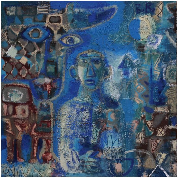 Portret Пикассо в Голубой период - холст, масло, 105 х 105, 2012