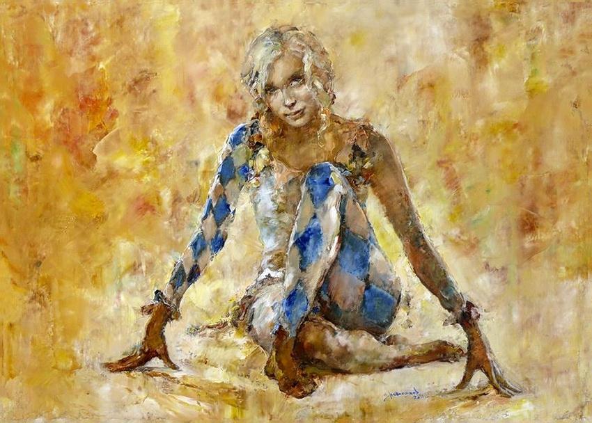 Девушка в костюме арлекина