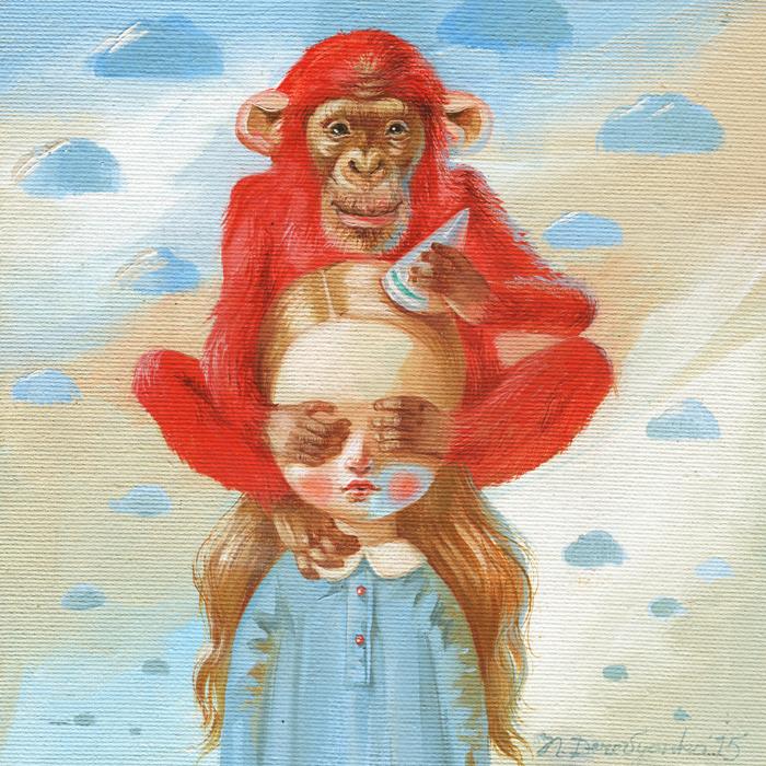 Картина Красная обезьяна