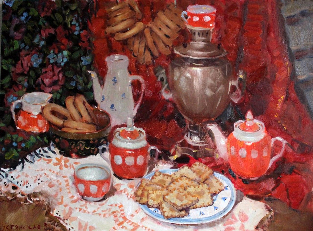 Чай с бубликами и печеньем