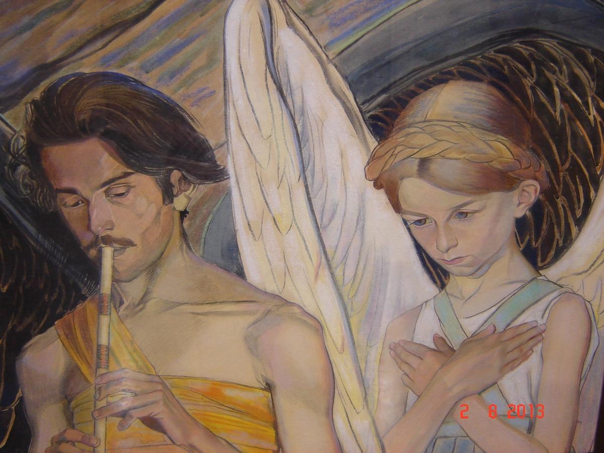 фрагмент панно Чорне і біле,1912. два ангела...